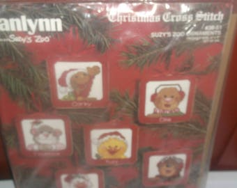 "Christmas Cross Stitch Kit Janlynn Suzys Zoo Ornaments #38-51 Finished Size 3"" by 3 ""  Set Of Six"