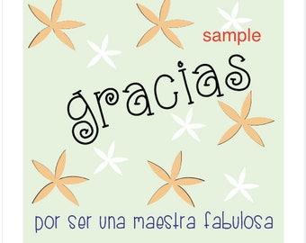 Instant Download. Printable Teacher Appreciation Tags (Thank You Tag in Spanish; tarjeta de Gracias por ser una maestra fabulosa)