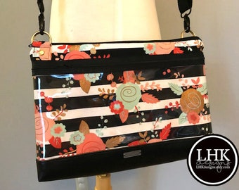 Direct Sales show off bag, crossbody bag, purse floral stripe