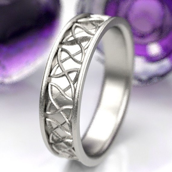 Celtic Wedding Ring With Dara Celtic Knot Design in Sterling Silver, Made in Your Size CR-330