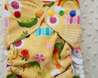 One Size, cloth diaper cover, cotton over PUL with AI2 option, Farm Fresh, farmers market, yellow food