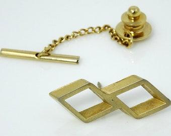 Art Deco Pin Cubic Vintage Tie Tack Goldtone