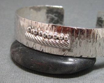 Sterling Silver Hand Forged Hammered Artisan Cuff Bracelet with Sterling Granule and Wire Accent
