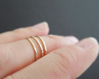 Gold Midi Rings 3 sparkly textured rings thin stackable ring toe ring pinky ring above the knuckle rings