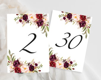 Table Numbers Printable, Table Number, Table Numbers Seating Template, Wedding Table Numbers, Marsala Wedding Table Numbers, Number 1-30