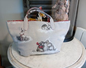 fabric rabbit patterned bag