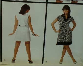 Straight Cut Dress Pattern, Bateau Neck, Sleeveless, Princess Seams,Front Pockets, Back Belt, Simplicity No. 3744 UNCUT Size 6 8 10 12 14