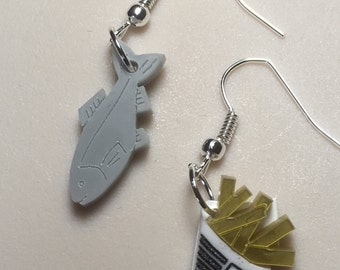 FISH & CHIPS...Very British laser cut Acrylic earrings