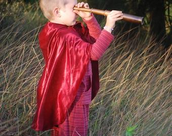 SALE Costume - Pirate Cape - Superhero - Hemp Silk - Red - Dress Up - Imaginative Play - Eco Friendly