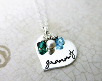 Granny Necklace - Sterling Silver Heart Jewelry - Gift for Grandma - Script Font - Grandkids' Birthstones - Swarovski Crystals