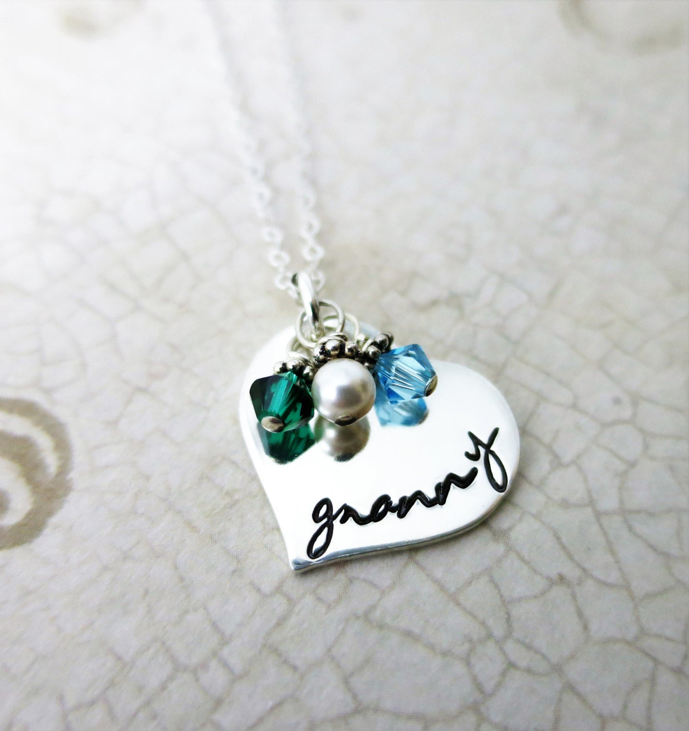 sterling wid grandkid silver necklaces heart family product birthstone necklace