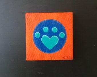 Miniature Blue Orange Heart Paw Print Acrylic Painting Magnet: OOAK/Cat Lover/Dog Lover/Paw/Original Art/Small Painting/Animal Art/Mini