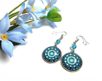 Earrings cabochon round mandala with a blue indicolite swarovski crystal bead