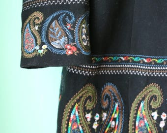Black Paisley Embroidered Sweet Miss Wool Coat
