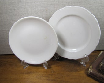 Homer Laughlin - Best China - Restaurant Ware - Two (2) Mismatched Small Plates - Creamy White