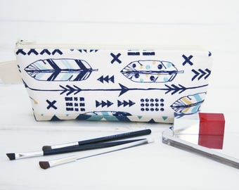 Cosmetic Makeup Bag, Arrow Zipper Pouch, feather Travel Bag, Blue Feather Pencil Case in Feathers and Arrows Zipper Bag by Oh Koey