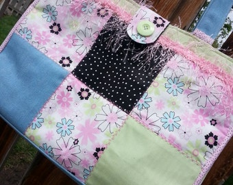 Patchwork Diaper Bag, Pink Tote Bag, Travel Bag with pockets, Patchwork Purse, Patchwork Book Bag