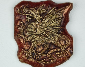 Welsh Dragon Stone Sculpture, Paisley Celtic Dragon Garden Art, Red and Gold Dragon Wall Plaque