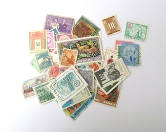 Lucky dip used postage stamps for craft: pack of 40 various world stamps. Ephemera for scrapbook, travel journal, collage, altered art S34