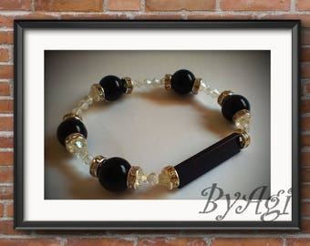 Black Lego brick & black beads and clear crystals bracelet.