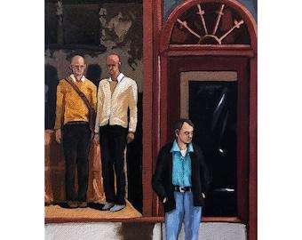 Men's Fashion - city street scene realistic figurative original oil painting