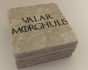 Valar Morghulis Game Of Thrones Natural Travertine Tile Tumbled Stone Table Coasters Set of 4 with Full Cork Bottom All Men Must Die