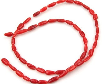 Strand Red Coral Gemstone Beads 3mmx7mm