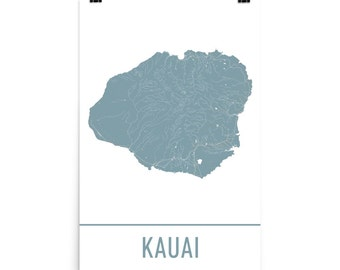 Kauai Map, Kauai Art, Kauai Print, Kauai Poster, Kauai Wall Art, Map of Kauai, Kauai Gift, Kauai Poster, Kauai Decor, Kauai Map Art Print