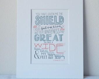 2 Samuel 22: 36-37 Print Bible Verse Art 5x7 Digital Wall Art Gift
