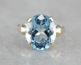 Blue Topaz Statement Ring, Topaz Solitaire, Right Hand Ring, Birthstone Ring HYYZHD5F-N