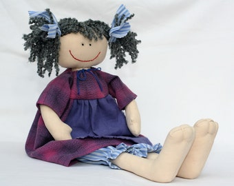 Purple Apron Girl, blue country style raggedy doll