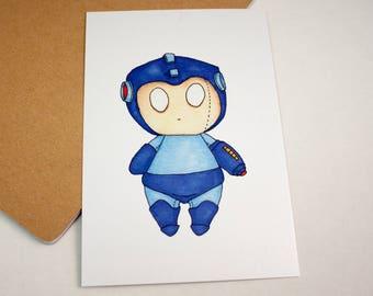 Mini Mega Man - 4x6 Print [ Capcom / Fan Art / Chibi ]