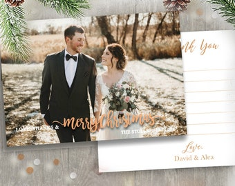 Merry Married Marry Christmas New Years Holiday Wedding Photo Magnet Card Postcard Gold Merry Little married bright love thanks rose GOLD