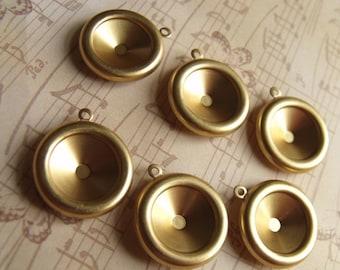 Brass 14mm Rivoli Settings Single Loop 6 Pcs