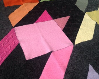 Recycled Wool Baby/Lap Blanket- Colorful Houndstooth