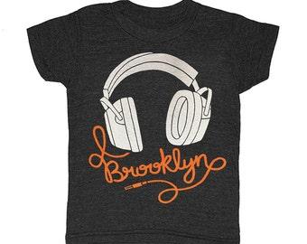Kids Brooklyn Headphones - T-shirt Bk Bklyn New York Boy Girl Children Toddler Youth Nyc Ny Mixtape Music DJ Oldschool Eighties Tee Shirt