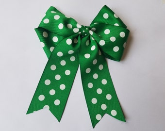 Handmade Green and White Polka Dot Bow