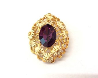 Vintage French Amethyst Glass and Gilded Metal Brooch.Bijoux.