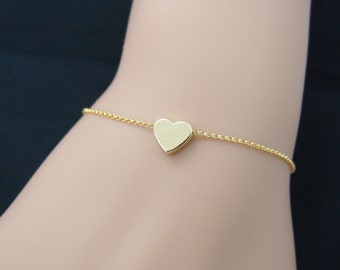 tiny gold heart bracelet, gold filled, bridesmaid gift, gift for her, gold chain bracelet, gifts for bridesmaid, bridesmaid bracelets