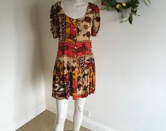Vintage 80s Batik Print Summer Day Dress