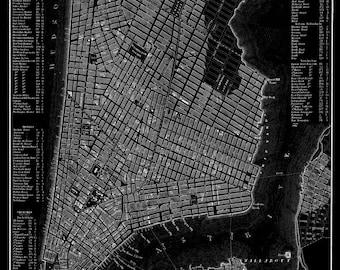 New York City Map 1844 New York City Manhattan Street Map Black Poster Print