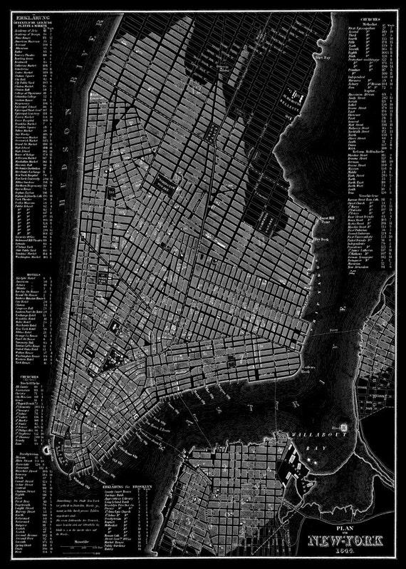 Nueva york mapa 1844 nueva york manhattan callejero negro - Callejero manhattan ...