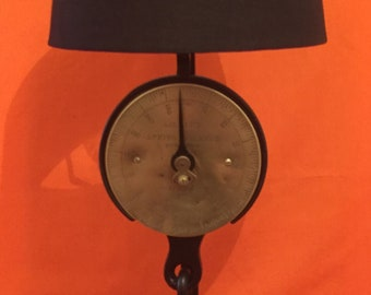 """A Vintage """"Salter"""" Spring Balance Scales convertedinto a very smart table/side lamp"""