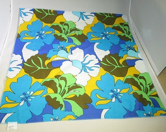 Psychedelic Floral Scarf in Blue, Yellow and Green