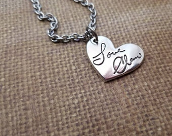 LARGE Actual HANDWRITING Charm Necklace in Fine .999 Silver