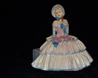 SALE - Vintage Victorian Southern Belle Lady Figurine Chalkware