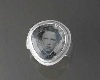 Sterling Ring with Antique Tintype of Little Boy Red Cheeks Under Rock Crystal Quartz