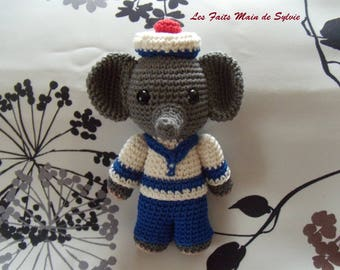Navy elephant crochet