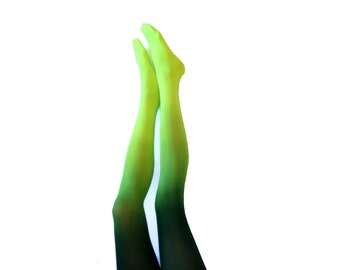 Ombre Tights.  Neon Green and Forrest Green Black