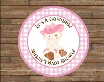 Personalized Baby Shower Stickers     It's A Cowgirl     Baby Cowgirl Stickers       It's a Cowgirl Favor Tags